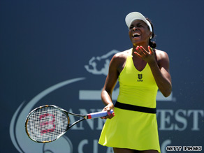 Venus Williams reacts after losing a point to Elena Dementieva in their semifinal match.