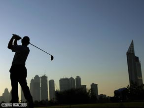 Lofty ambition: The world's richest golf event was launched at the world's tallest hotel in Dubai.