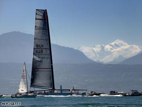 Alinghi's America's Cup yacht was unveiled on Lake Geneva with Mont Blanc in the background.