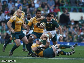The Springboks charge forward in their 29-17 victory over Australia at Newlands.