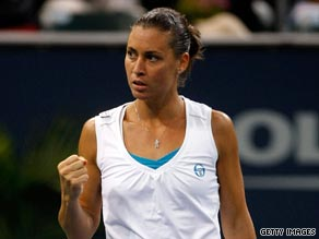 Flavia Pennetta recovered from 3-1 down in the final set to defeat Maria Sharapova in Los Angeles.
