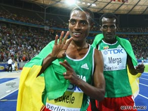 Kenenisa Bekele Wins 10,000 Meter Men's in Berlin 2009 - Aug 17, 2009