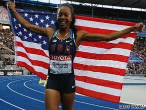Sanya Richards celebrates finally breaking her 400m gold duck with World Championship victory in Berlin.