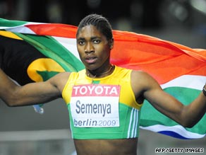 Semenya celebrates her gold, which came just hours after the IAAF called for a gender test on the athlete.