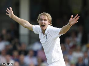 Broad celebrates a wicket during his inspired spell of bowling at The Oval on Friday.