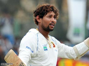Dilshan celebrates his ninth Test century as he passes three figures at Galle.