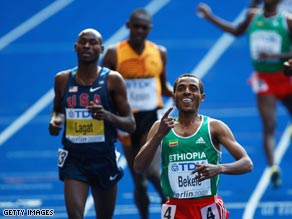 Bekele outkicked Lagat to win double gold in Berlin.