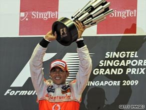McLaren's Lewis Hamilton led from start to finish at the Singapore Grand Prix.