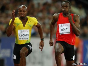 Bolt (right) recovered from a poor start to pip Jamaican rival Asafa Powell in the 100 meters in Zurich.