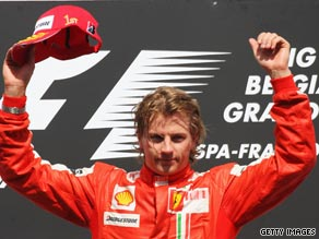 Kimi Raikkonen celebrates ending his victory drought after winning the Belgian Grand Prix.