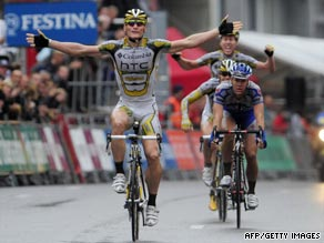 Andre Greipel of Team Columbia celebrates as he wins the 225km fourth stage of the Tour of Spain.