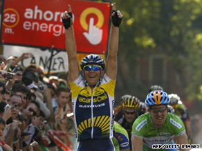 Borut Bozic celebrates pipping Tyler Farrar to victory in Friday's sixth stage of the Vuelta Espana.