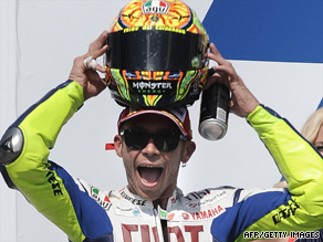Valentino Rossi celebrates his 102nd victory at the Brno Grand Prix in the Czech Republic.