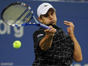 Roddick powers a forehand during his straight sets win over Giguel at Flushing Meadows.