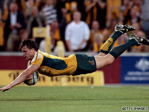 Adam Ashley-Cooper goes over for Australia's opening try in their victory over South Africa.