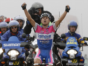 Damiano Cunego celebrates his first-ever Tour of Spain stage victory after his mountain-top win on Sunday.