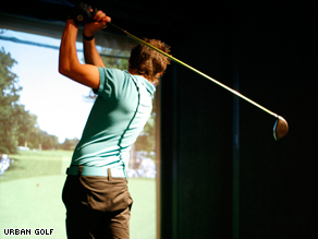 A keen golfer playing the virtual game.