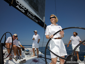 Shirley Robertson at the helm of the King of Spain's yacht during racing at the Audi MedCup in Portimao, Portugal