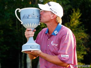 Steve Stricker continued his superb form this year to claim victory in the Deutsche Bank Championship.
