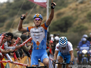 Hesjedal celebrates crossing the line ahead of David Garcia   on stage 12 of the Vuelta Espana