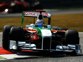 Adrian Sutil continued Force India's progress by topping the timesheets at Monza on Friday.