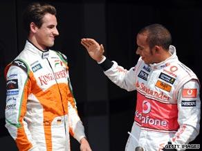 Lewis Hamilton and Adrian Sutil