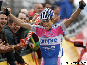 Cunego celebrates claiming his second stage victory in this year's Vuelta Espana on Sunday.