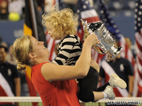 Kim Clijsters celebrates a point during her victory over Denmark's Caroline Wozniacki on Sunday.