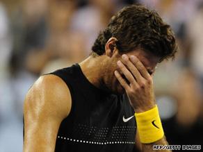 Juan Martin Del Potro celebrates after beating Roger Federer during the final on Monday.