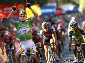 Andre Greipel celebrates after coming home first in a sprint finish to Tuesday's 16th stage in Spain.