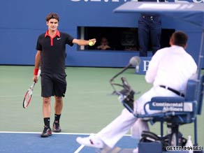 Federer argues with umpire Jake Garner during his five-set defeat to Del Potro.