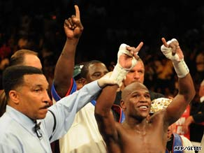 Mayweather weighed in four pounds heavier than Marquez and it showed in the bout.