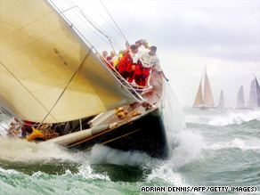 Shamrock V, a 1930's Americas Cup challenger at the J-class race in the Solent, Isle of Wight, in 2001.