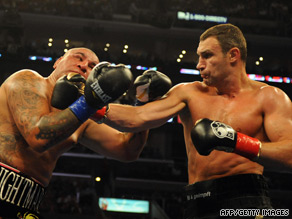 Klitschko (right) lands a powerful right-hand on his way to victory over Cristobal Arreola in Los Angeles.