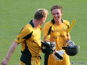Lee (left) and Hauritz took Australia to a thrilling victory.