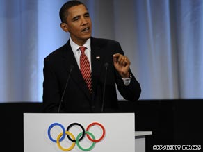 U.S. President Obama gives his address to the International Olympic Committee.