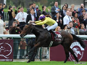 Sea The Stars finishes clear of the field to win Europe's top horse race.