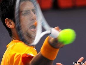 Djokovic powers a forehand during his straight sets win over Hanescu.