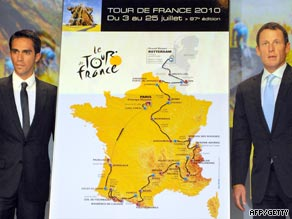 Contador (left) and Armstrong beside the official route of the 2010 Tour de France.