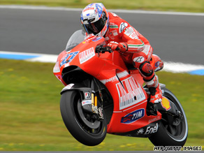 Casey Stoner claimed his third successive Australian win and his first victory since returning to MotoGP.