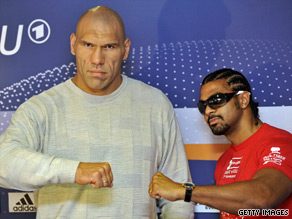 Valuev (left) and Haye have been involved in a war of words ahead of next month's WBA title fight.