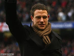 Bridge acknowledges the Manchester City crowd after completing his move from Chelsea.