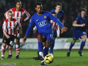 Nani stroked home a penalty as Manchester United eased into the fourth round of the  FA Cup.