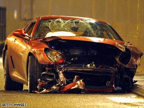 Ronaldo's Ferrari was a complete write-off after his accident on the way to training.