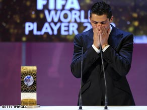 Cristiano Ronaldo shows emotion after being named the FIFA World Player of the Year for 2008.