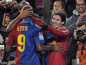 From left to right, Eto'o, Henry (hidden) and Messi did the damage as Barcelona out-classed Deportivo.