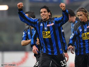 Top scorer Sergio Floccari celebrates opening the scoring in Atalanta's shock victory over Inter.