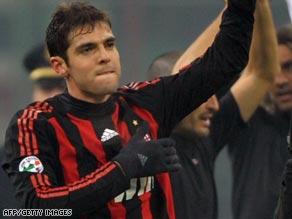 Kaka waves to supporters during Milan's match with Fiorentina on Saturday.