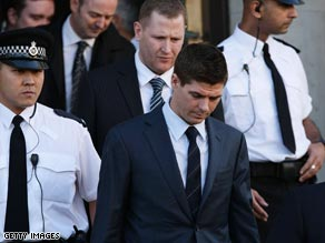 Gerrard leaves court on Friday after pleading not guilty to actual bodily harm and affray.