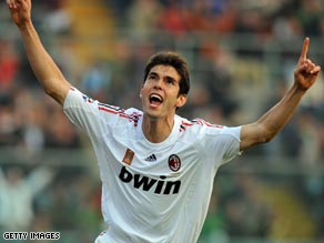 Kaka scored twice for AC Milan days after rejecting a world record transfer to Manchester City.